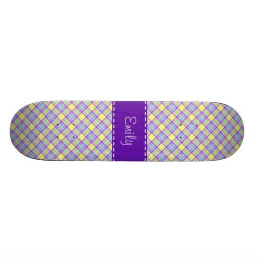 Modelo púrpura y amarillo de la tela escocesa tabla de patinar