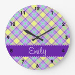 Modelo púrpura y amarillo de la tela escocesa reloj