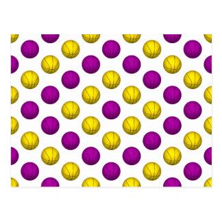 Modelo púrpura y amarillo del baloncesto tarjetas postales