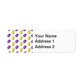 Modelo púrpura y amarillo del fútbol etiqueta de remitente