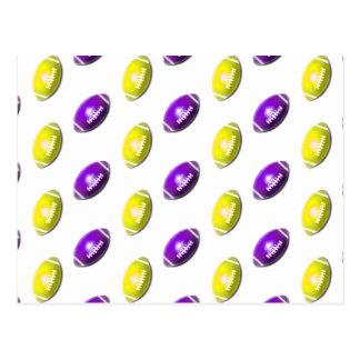 Modelo púrpura y amarillo del fútbol tarjeta postal