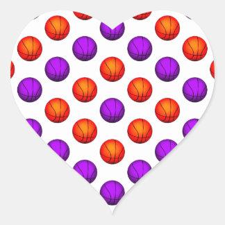 Modelo púrpura y anaranjado del baloncesto calcomanía de corazón personalizadas