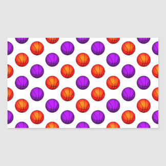 Modelo púrpura y anaranjado del baloncesto pegatina rectangular