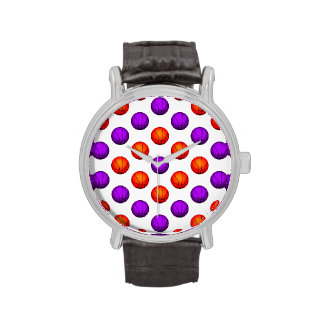 Modelo púrpura y anaranjado del baloncesto reloj de mano