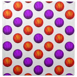 Modelo púrpura y anaranjado del baloncesto servilletas