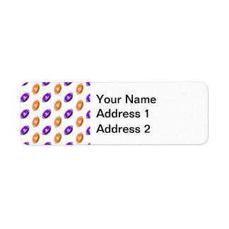 Modelo púrpura y anaranjado del fútbol etiquetas de remite