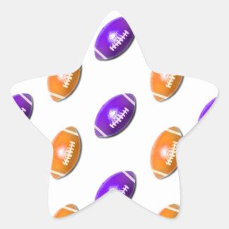 Modelo púrpura y anaranjado del fútbol pegatina en forma de estrella
