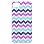 Modelo púrpura y azul de los galones del zigzag iPhone 5 Case-Mate carcasa