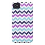 Modelo púrpura y azul de los galones del zigzag Case-Mate iPhone 4 cárcasa