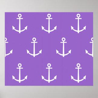 Modelo púrpura y blanco 1 de las anclas poster