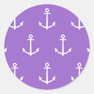Modelo púrpura y blanco 1 de las anclas pegatina redonda