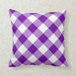 Modelo púrpura y blanco de la guinga almohada