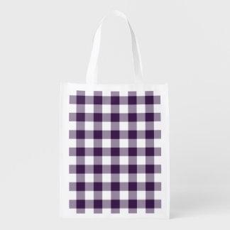 Modelo púrpura y blanco de la guinga bolsa de la compra