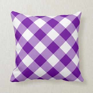 Modelo púrpura y blanco de la guinga cojín