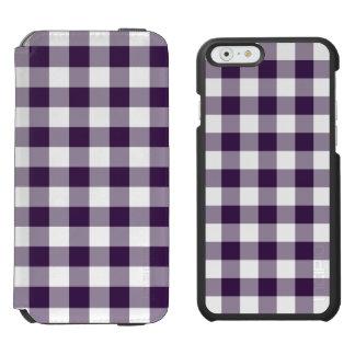 Modelo púrpura y blanco de la guinga funda billetera para iPhone 6 watson
