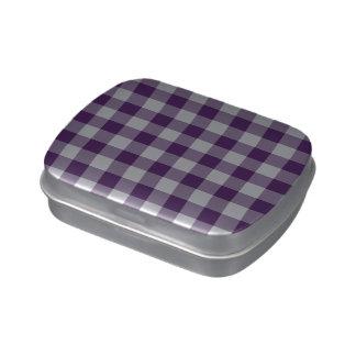 Modelo púrpura y blanco de la guinga latas de caramelos