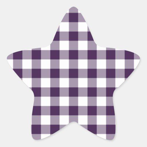 Modelo púrpura y blanco de la guinga pegatina en forma de estrella