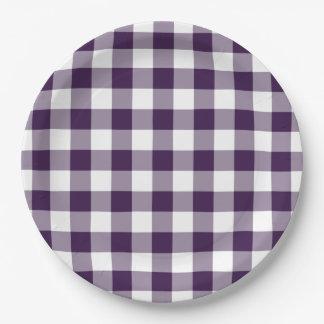 Modelo púrpura y blanco de la guinga platos de papel