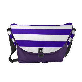 Modelo púrpura y blanco de la raya bolsa messenger