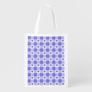 Modelo púrpura y blanco de los corazones del bolsas reutilizables