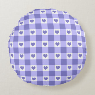 Modelo púrpura y blanco de los corazones del cojín redondo