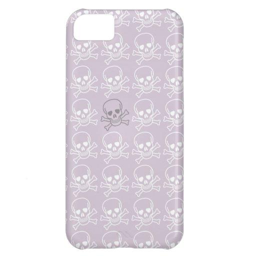 Modelo púrpura y blanco de los cráneos funda para iPhone 5C