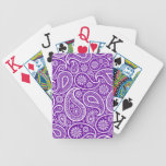 Modelo púrpura y blanco de los damascos de Paisley Barajas De Cartas