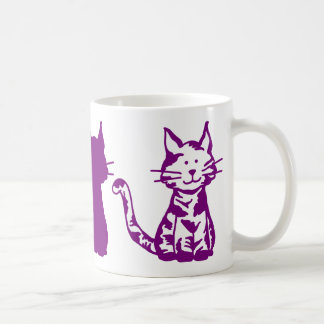 Modelo púrpura y blanco de los gatos taza de café