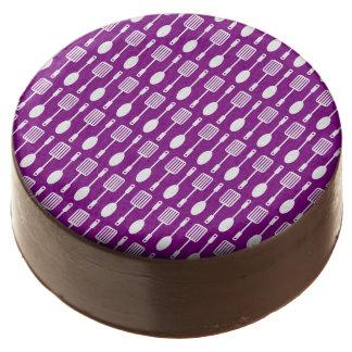Modelo púrpura y blanco de los utensilios de