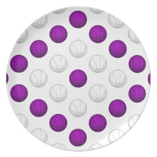 Modelo púrpura y blanco del baloncesto plato de comida