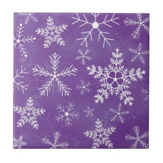 Modelo púrpura y blanco del copo de nieve teja cerámica