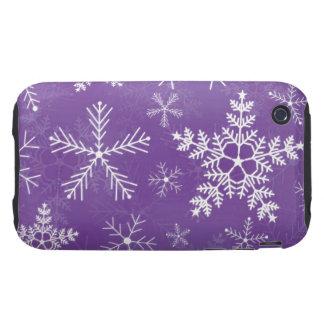 Modelo púrpura y blanco del copo de nieve tough iPhone 3 carcasas
