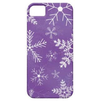 Modelo púrpura y blanco del copo de nieve iPhone 5 Case-Mate protectores