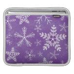 Modelo púrpura y blanco del copo de nieve mangas de iPad