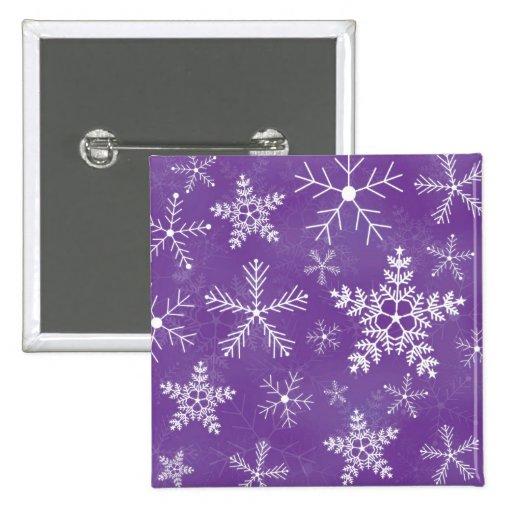 Modelo púrpura y blanco del copo de nieve pin