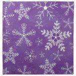 Modelo púrpura y blanco del copo de nieve servilletas