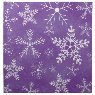 Modelo púrpura y blanco del copo de nieve servilletas imprimidas