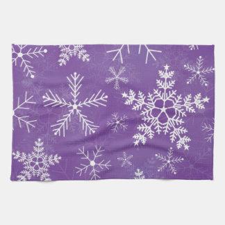 Modelo púrpura y blanco del copo de nieve toalla de cocina