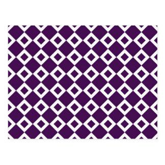 Modelo púrpura y blanco del diamante tarjeta postal