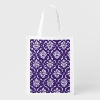 Modelo púrpura y blanco oscuro del damasco del bolsa para la compra