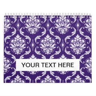Modelo púrpura y blanco oscuro del damasco del calendario de pared