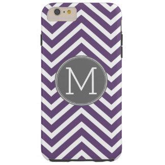 Modelo púrpura y gris de Chevron con el monograma Funda De iPhone 6 Plus Tough