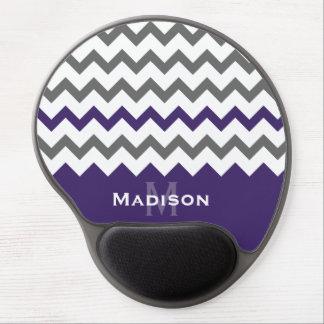 Modelo púrpura y gris elegante de Chevron Alfombrillas Con Gel