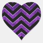 Modelo púrpura y negro de Chevron Calcomanía Corazón