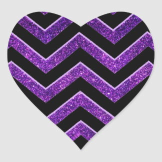 Modelo púrpura y negro de Chevron Pegatina En Forma De Corazón