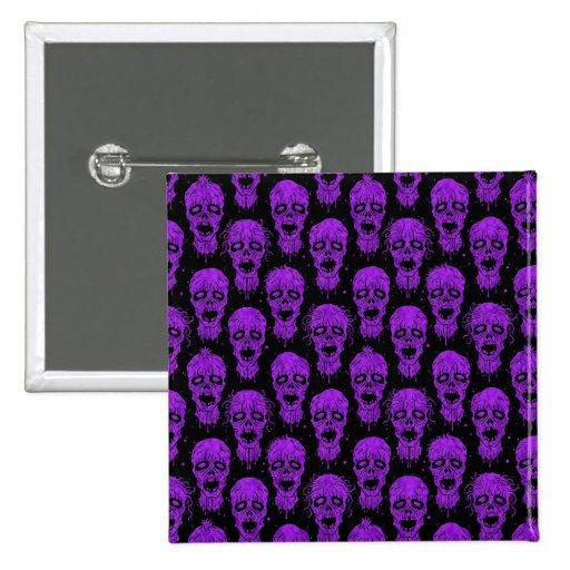 Modelo púrpura y negro de la apocalipsis del zombi pin cuadrada 5 cm