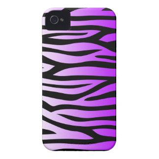 Modelo púrpura y negro de la cebra iPhone 4 carcasa