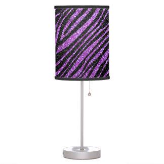 Modelo púrpura y negro de la raya de la cebra lámpara de mesilla de noche