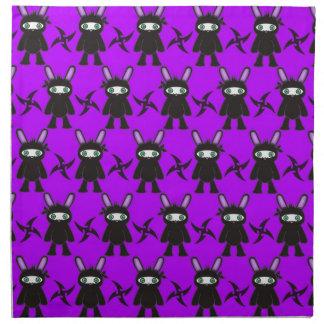 Modelo púrpura y negro del conejito de Ninja Servilleta Imprimida