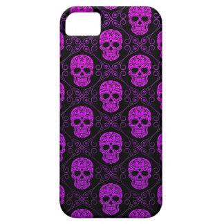 Modelo púrpura y negro del cráneo del azúcar funda para iPhone SE/5/5s